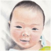 pastel portrait of a baby