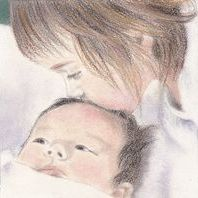 pastel portrait of a sister and a baby
