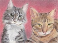 pastel painting of cats