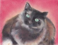 pastel painting of a cat